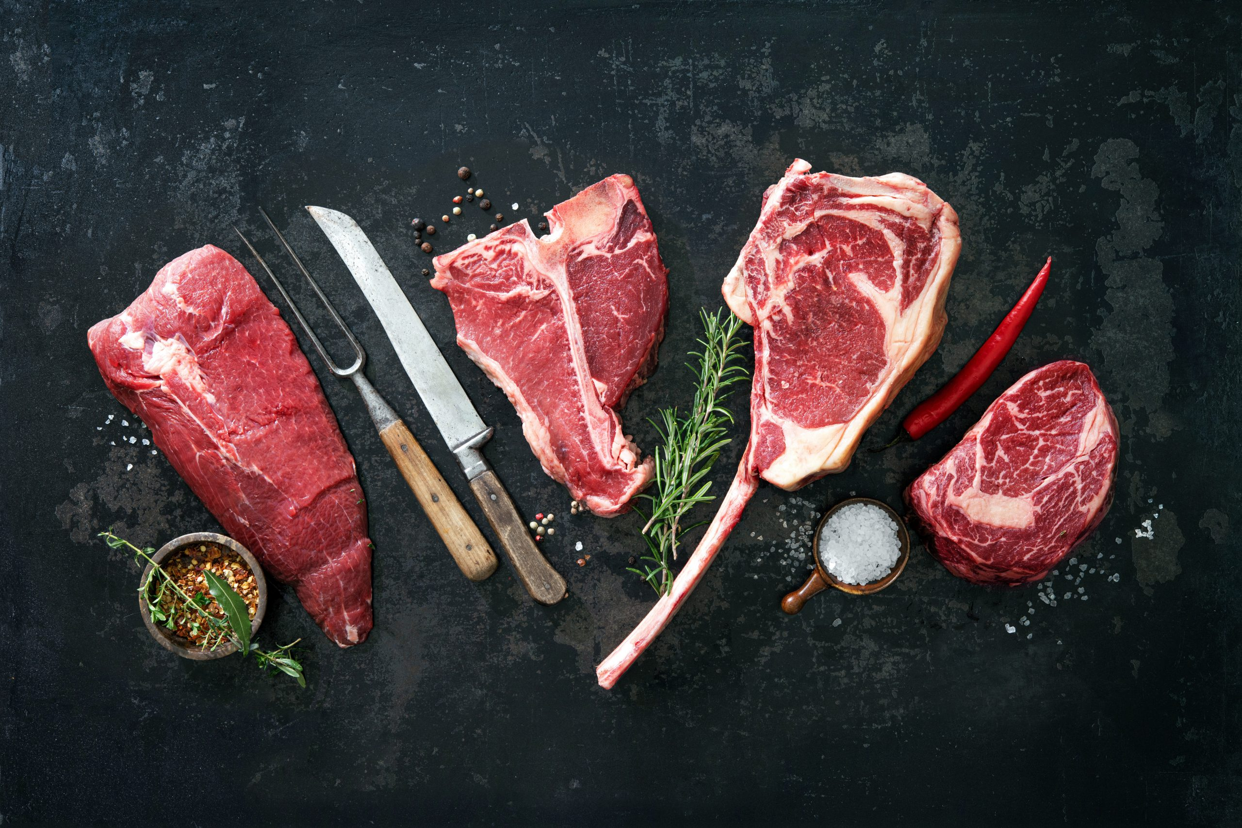 Variety of raw beef meat for grilling